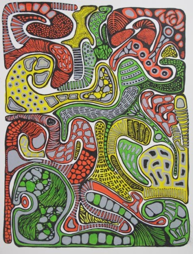 Red, Yellow, Green (2010) 11X14 Acrylic Ink and Marker on Paper