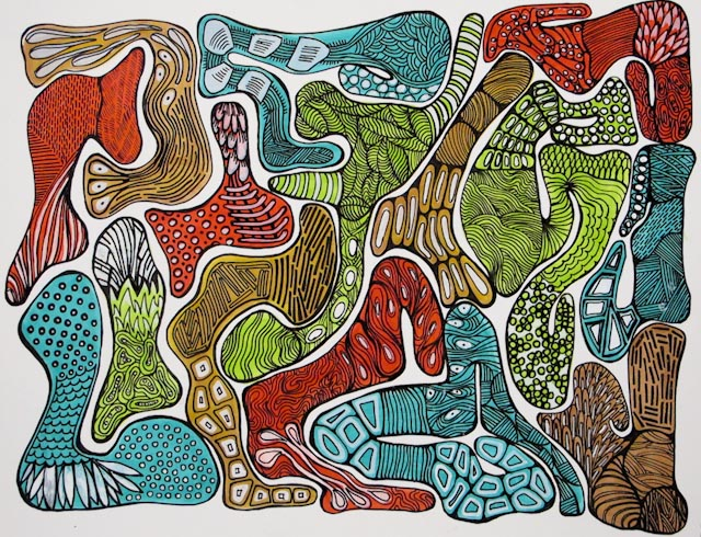 Blobs Lines White (2010) 11X14 Acrylic Ink and Marker on Paper