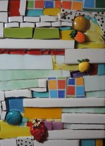 Orange you glad I didn't say Banana (2016) 5x7 Mixed Media Mosaic on Wood Panel