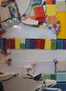 Science says Unicorns fart rainbows (2016) 5x7 Mixed Media Mosaic on Wood Panel