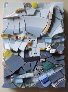 Honey Pony 5x7 (2017) Pique Assiette Mosaic on Wood Panel
