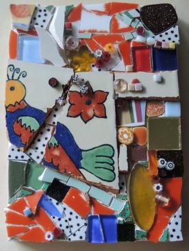 Dottie 5x7 (2017) Pique Assiette Mosaic on Wood Panel